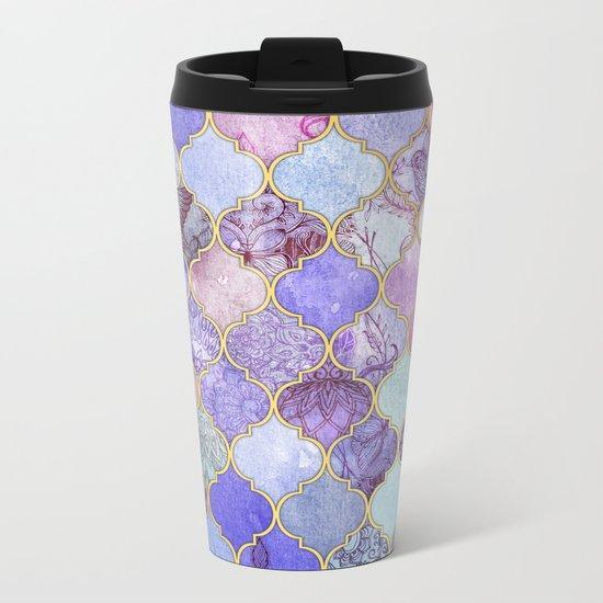 Royal Purple, Mauve & Indigo Decorative Moroccan Tile Pattern Metal Travel Mug