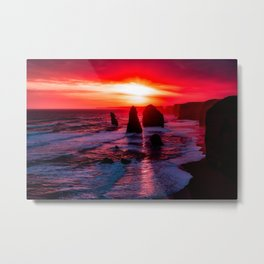Wave Series Photograph No. 13. - Twelve Apostles, Australia Red Sunset Metal Print
