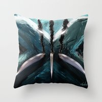 x men Throw Pillows featuring Mutant Canvas....X-Men by Emiliano Morciano (Ateyo)