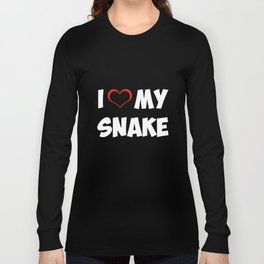 I Heart My Snake Proud Reptile Parent Animal Lover T-Shirt Long Sleeve T-shirt
