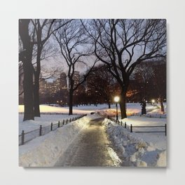 Snowy Central Park at Night Metal Print