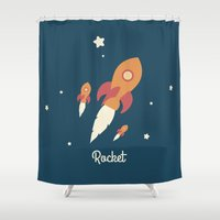 rocket Shower Curtains featuring Rocket by Jane Mathieu