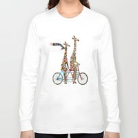 giraffe Long Sleeve T-shirts featuring giraffe days lets tandem by bri.buckley