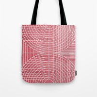 boobs Tote Bags featuring Robotic Boobs Red by Mr Christer Design