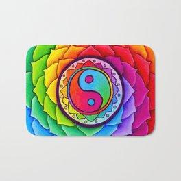 Healing Lotus Rainbow Yin Yang Mandala Bath Mat