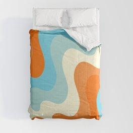 Vintage Summer Palette Mid-Century Minimalist Waves Abstract Art Comforters