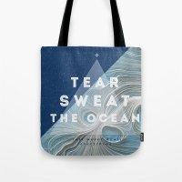 salt water Tote Bags featuring Salt water heals by Lara garcia