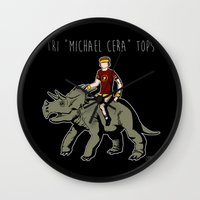 "michael scott Wall Clocks featuring Tri ""Michael Cera"" tops by zombieCraig"