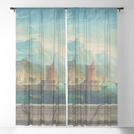 Capriccio of a Mediterranean Seaport Landscape No. 1 by Rex Whistler Sheer Curtain