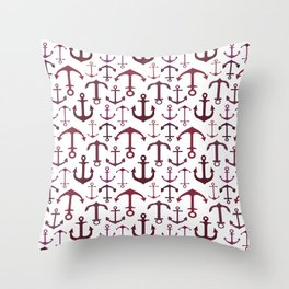 Red Anchors Throw Pillow