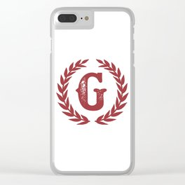 Rustic Red Monogram: Letter G Clear iPhone Case