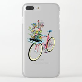 Bike and Flowers Clear iPhone Case