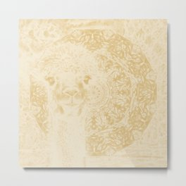 Ghostly alpaca and mandala in Iced Coffee browns Metal Print