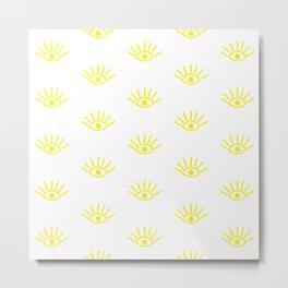 Yellow Evil Eye Pattern Metal Print