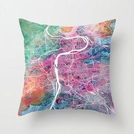 Prague city map Throw Pillow