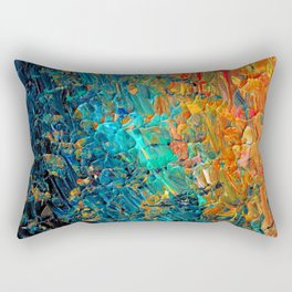 ETERNAL TIDE 2 Rainbow Ombre Ocean Waves Abstract Acrylic Painting Summer Colorful Beach Blue Orange Rectangular Pillow