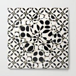 black and white circles in squares Metal Print