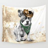 cowboy Wall Tapestries featuring Cowboy Dog by TammyCreation