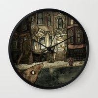 rat Wall Clocks featuring Rat by Jordan Walsh