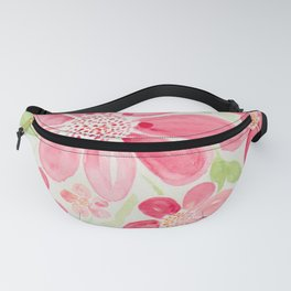 Cheerful Pink Cherry Daisy Watercolor Flowers Fanny Pack