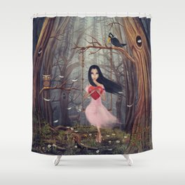 Girl sits on a swing  in a dark  forest Shower Curtain