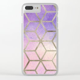 Pixie dust geometric watercolor Clear iPhone Case