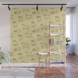 Pug Pattern Wall Mural