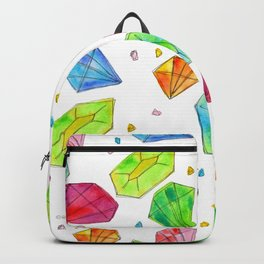 Let Us Shine Like Diamonds fashion, illustration, jewelry, gems, colorful, watercolor, painting Backpack