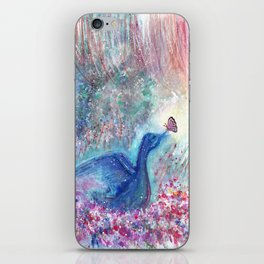 Mystical Blue Bird Watercolor Art iPhone Skin