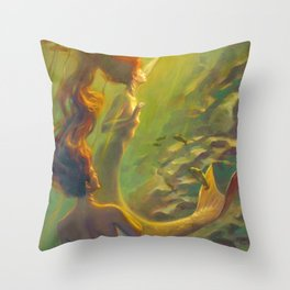 Water Nymphs Throw Pillow
