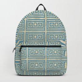 Vintage Blue Tile  Greek Meander Pattern Backpack