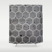honeycomb Shower Curtains featuring Honeycomb by _Moementum