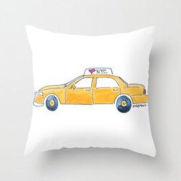 NYC taxi cab Throw Pillow