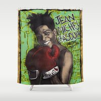 basquiat Shower Curtains featuring Jean-Michel Basquiat by Ibbanez