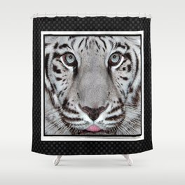 White Tiger with a little tougue Shower Curtain