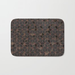 Copper Gold and Black Hexagons Geometric Pattern Bath Mat