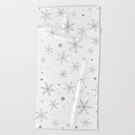 Twinkle Snowflake -Silver Grey & White- Beach Towel