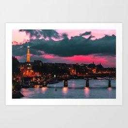 Red Sky Paris Art Print