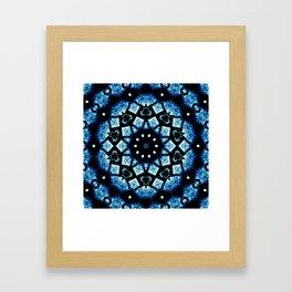 Blue Black Mosaic Kaleidoscope Mandala Framed Art Print