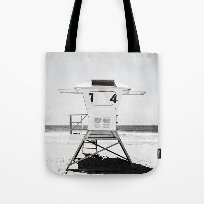 Black and White Beach Photography, Grey Lifeguard Stand, Gray Coastal Nautical Art Tote Bag