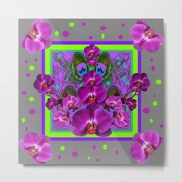 Festive  Grey-Fuchsia- Chartreuse Purple Orchids Pattern Metal Print