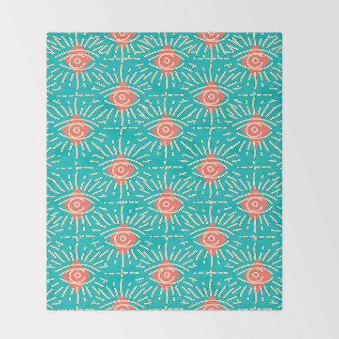 Dainty All Seeing Eye Pattern in Coral Throw Blanket