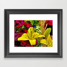 Fractal Yellow Lily Framed Art Print