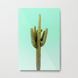 Cactus on Cyan Wall Metal Print
