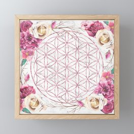 Mandala Rose Gold Garden Pink Red Yellow Framed Mini Art Print
