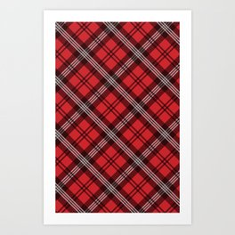 Scottish Plaid (Tartan) - Red Art Print