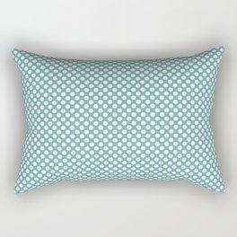 Aqua Sea and White Polka Dots Rectangular Pillow