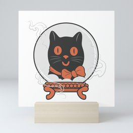 Turn Your Crystal Ball On - The Black Cat is Calling Mini Art Print