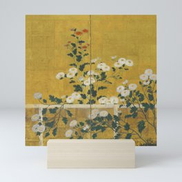Red and White Chrysanthemums Vintage Japanese Gold Leaf Screen Mini Art Print