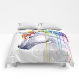 Rainbow Unicorn Watercolor Animal Magical Whimsical Animals Comforters